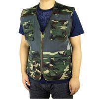 free shipping 2015 summer men's plus size fishing jacket Camouflage mesh vest outdoor casual multi-pocket waistcoat men Hot sale