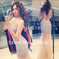2015 Vestido De Festa Sexy Custom Made Mermaid White Tulle Tank Crystal Floor Length Evening Dress Prom Dress