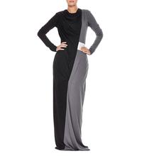2013 nouveau noir et gris patchwork femmes vêtements musulman robe musulmane abaya / jilbab haut quanlity vêtements arabes mous livraison gratuite(China (Mainland))