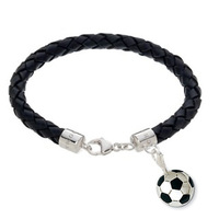 2014 new Genuine leather bracelet with a soccer charm, nice gift bracelet and world cup soccer bracelet, fashion silver jewelry