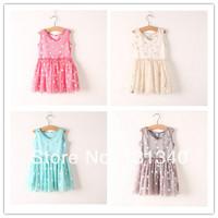 Wholesale New 2014 Summer Baby Girls Chiffon Dresses Princess Sleeveless Silver Dot Ruched Lolita Children's Clothing 6pcs/Lot