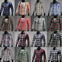 Men's Casual Slim Fit Plaid Shirts Long Sleeve Dress Shirts Mans spring Autumn cotton clothes 2014