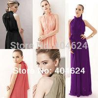 FreeShipping 2014 Hot Women Elegant Chiffon Ruffle Neck Sleeveless Sashes Solid Vintage Evening Party Ball Gown Long Maxi Dress