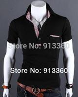 Freeshipping New Fashion Little Grid Slim Men Polo Shirts