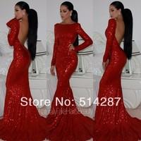2014 Vestido De Festa Backless Mermaid Red Full Sleeves Silm Line Floor Length Evening Dress Prom Dress