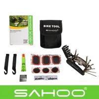 13 in 1 SAHOO Bicycle Cycling Tyre Repair Multi Tool Set Kits Bike Repairing Tools with Tool Bag Black