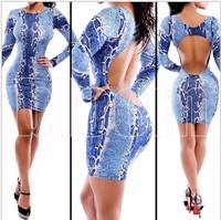 HL Women long sleeve Bodycon cut out Bandage dress open back leopard print clubwear Party Dresses blue Sexy Club Dress 2014