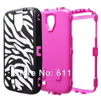 1pcsX For Samsung Galaxy S4 S IV i9500 9500 Zebra Stripe Dirt/Shock proof Defender Phone Case PC + Silicone Skin Cover