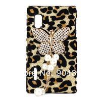 Bling diamond Diamante Glitter Gold Butterfly Tassel Leopard Case For For LG Optimus L5 E610 E612 Phone  2014 New  design