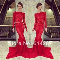 Vestidos De Fiesta Luxury Red Mermaid Lace Slim Line High Neck Full Sleeve Prom Dresses Evening Dress New Arrival