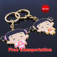 Beautiful fashion cartoon little girl keychain couple key chain key pendant