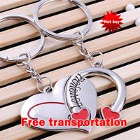 Metal keychain gift keychain vintage keychain couple heart key chain