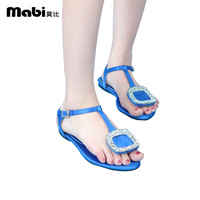 2014 rv side buckle rhinestone satin fabric flat heel sandals female fashion flat women's shoes