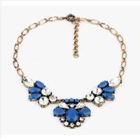 2014 new hot fashion Romantic Rhinestone jewel Flowers metal Bosnian necklace choker Hot women jewelry Statement Necklace