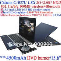 Laptop with 15.6 inch LED 16:9 HD display screen Intel Celeron 1037U 1.8Ghz Ivy Bridge 22nm 2 Mega Pixels camera 2G RAM 250G HDD