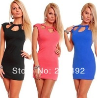 Free shipping 2014 spring new European and American fashion sexy package hip nightclub hollow dress/ ladies Dress essential