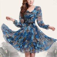 HOT !! 2014 New Summer Spring Womens Retro Floral Printed V-neck Dress , Elegant Long Sleeve Chiffon OL Slim Sweet Dress 654443