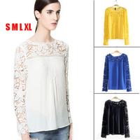 Brazil 2014 Elegant Lace Long Sleeve Shirts Patchwork Chiffon Blouse Embroidery Tops For Womens Sheer Blusas De Encaje Black