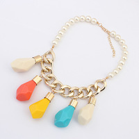 Fashion accessories exaggerated necklace female chain pearl necklace