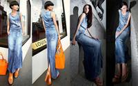 Sexy Women Fashion Denim Jean Blue Pocket Split Back Vintage Maxi Long Dress