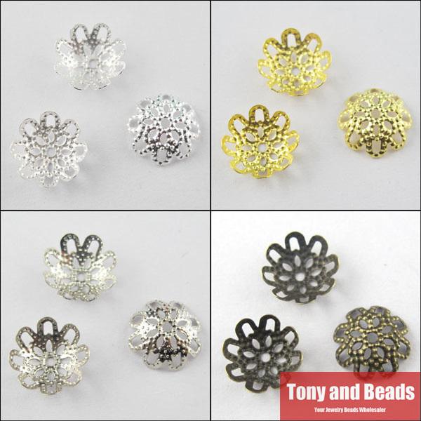 Купить Ювелирные изделия и часы  (200Pcs=1Lot ! ) Free Shipping Jewelry Finding 10MM Flower Filigree End Beads Caps Gold Silver Bronze Nickel Plated No.BC2 None