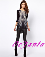 2014 Spring And Summer T-shirt Fashion Loose Peacock Tail Women's T-shirt