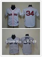 Free Shipping 2014 Cheap Youth Kids Baseball Jerseys Boston Red Sox #34 David Ortiz Jersey,Embroidery Logos,Size S-XL