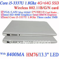 13.3 inch Laptop Computer with 1.0 mega pixel Multi Language support i5-3337U1.80GHz Dual Core 4 Threads CPU 4G RAM 64G SSD