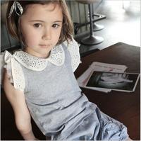 Free Shipping 2 PCS Blouse+Pants new arrival 2014 children Autumn clothing girls Soft Lace Hollow-neck Suit 95% Cotton