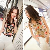 New Arrival 1PC Women Casual Chiffon Sleeveless Flower Shirt Woman Blouse Vest Tank Tops Free shipping &wholesale