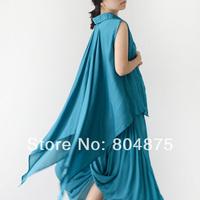 FREE SHIPPING Dovetail Irregular Sleeveless Shirt Women's 2014 Spring Chiffon Shirt