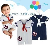 2014 Wholesalesummer  Short-sleeve male child sailor collar style romper 3pcs/lot Free shipping