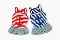 cotton and jeans Stripe navy soul cat dog dress  dog clothes dog shirt Four Seasons General casual warm red blue
