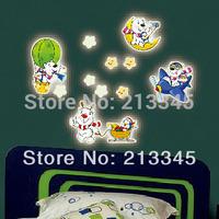 [Saturday Mall - glow in the dark wall sticker cartoon Happy Bear DIY kid room decoration home decals luminous 0023