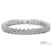 Bridal Fashion Roma Style 18K Gold Plated Cubic Zirconia Bracelets + Bangles + 26%