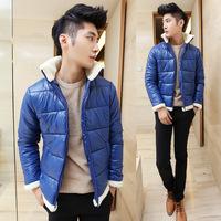 2014 New Arrival Korea Style Thicken Cotton Jacket Korean men's padded cotton jacket collar lamb's wool coat jacket zipper Slim