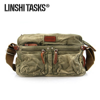 Linshi tasks man bag shoulder bag canvas bag messenger bag male