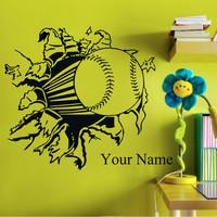 Free Shipping Home Decor CUSTOM NAME Baseball Beautiful Vinyl Wall Stickers Decals 60*48cm