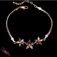 18k rose gold plated Marquise-cut multicolored Or Silver Color Swiss CZ Pendant Summer Flower Bracelet