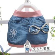 2014 summer baby girls short jeans trousers,Shorts,Denim Pants Cute Big Bow Print,V844(China (Mainland))
