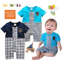 Wholesale  children's clothing summer baby boy badge stripe one piece romper short-sleeve baby bodysuit 3pcs/lot Free shipping