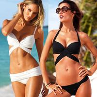 Spring / summer 2014 Brand Bikinis set Sexy Brazil Biquini Push Up Solid Womens Swimwear Swimsuit Halter Bandeau Padded Bra