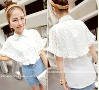 Women's 2013 women's shirt chiffon lace patchwork poncho shirt elegant chiffon shirt
