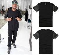 Tops Tee mens snakeskin plain black tshirt  wholesale pu leather  t shirt cotton zipper tee fashion 2014 t shirts summe mens