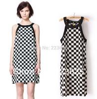 Summer Dress 2014 New Women's Black and White Plaid Checker Board Printing Sleeveless Slash Neck Women's Dresses Plus Size