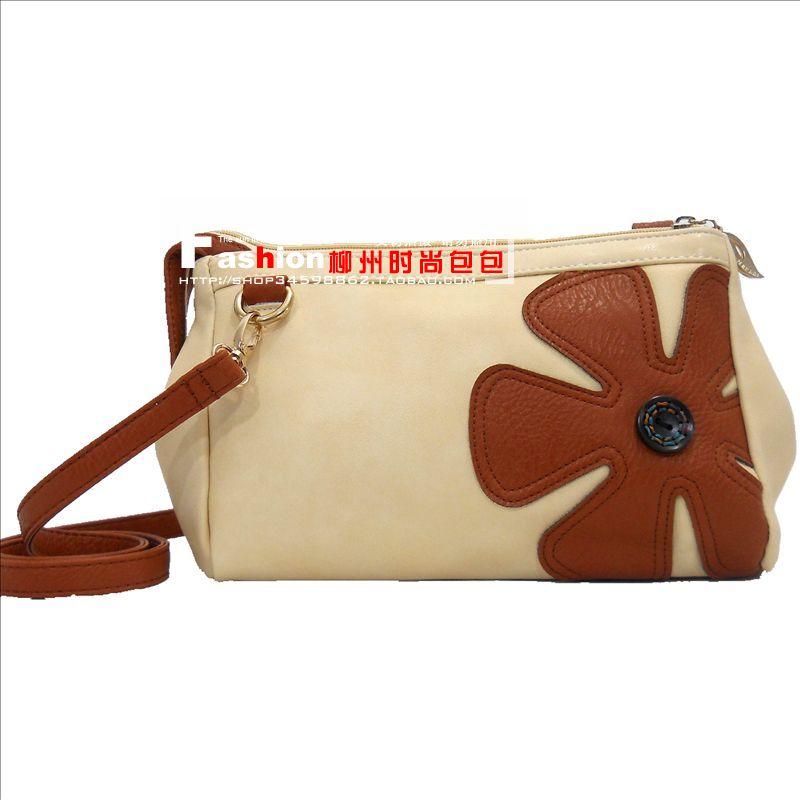 free shipping new 2014 women bag Women's handbag zipper messenger bag small 2014 fresh 1861 messenger bag beige(China (Mainland))