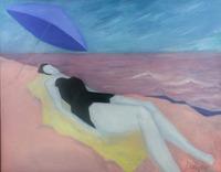 Modern Portrait Woman Beach Original Oil/Canvas Dolique