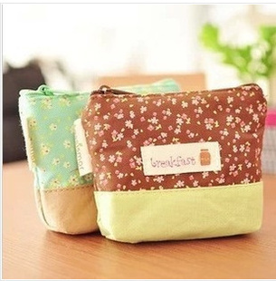 Min order 15$ (Mixed order) Wholesale Boutique Flower Sea Motto Lady Canvas Coin Purse Zipper Wallet Cosmetic Storage Pouch Bag(China (Mainland))