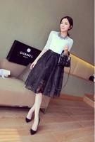 Women's 2014 spring and summer fashion hepburn vintage elegant high waist flower lace bust skirt