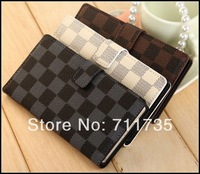 Leather case for xperia Z2.Fashion Grid Squares wallet leather case with stand For Sony Xperia Z2  50pcs/lot DHL free shipping